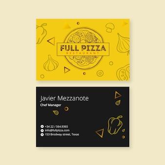 Plantilla para tarjeta de visita de restaurante de pizza