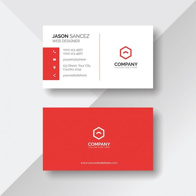 Plantilla de tarjeta de visita roja y blanca simple y limpia