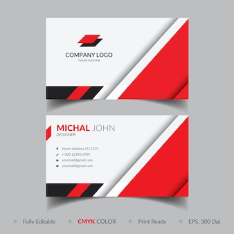Plantilla de tarjeta de visita roja elegante corporativa