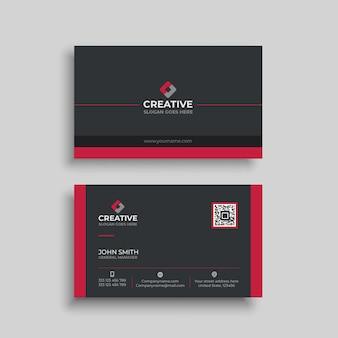 Plantilla de tarjeta de visita roja oscura