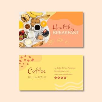 Plantilla de tarjeta de visita saludable desayuno
