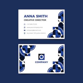 Plantilla de tarjeta de visita sobre tema azul