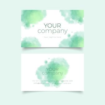 La plantilla de la tarjeta de visita de su empresa con colores pastel verdes