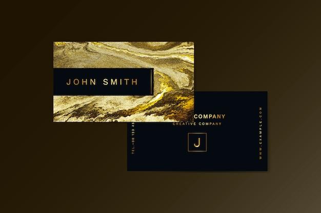 Plantilla de tarjeta de visita con textura dorada