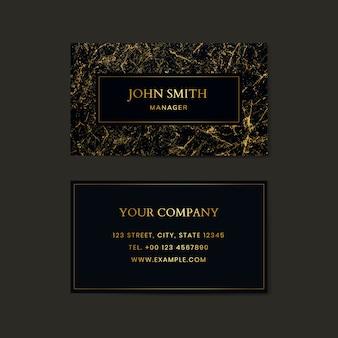 Plantilla de tarjeta de visita con textura de mármol negro