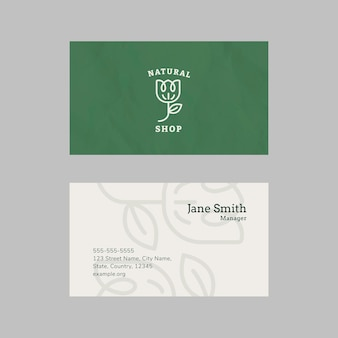 Plantilla de tarjeta de visita para tienda natural.
