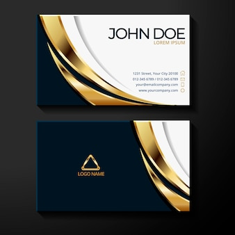 Plantilla de tarjeta de visita triangular de lámina de oro