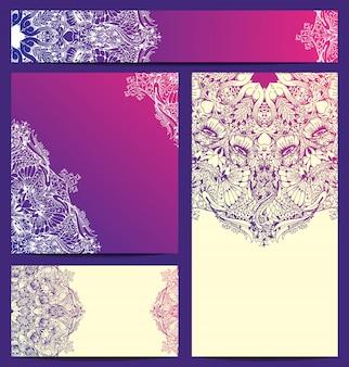 Plantilla de tarjeta de visita de vector dibujado a mano patrón floral ornamento saludo