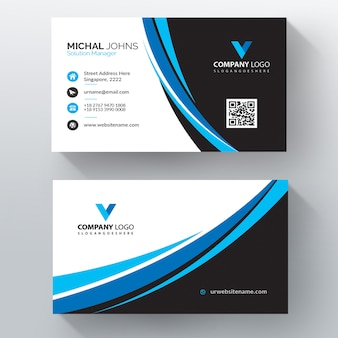Plantilla de tarjeta de visita de vector ondulado azul