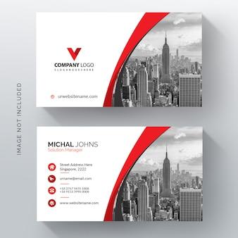 Plantilla de tarjeta de visita vector rojo ondulado