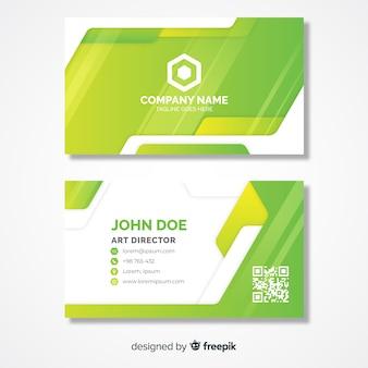 Plantilla de tarjeta de visita verde lima con logo