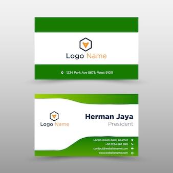 Plantilla de tarjeta de visita verde vector