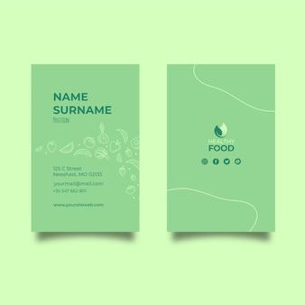 Plantilla de tarjeta de visita vertical de alimentos saludables