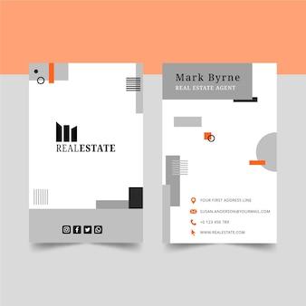 Plantilla de tarjeta de visita vertical de bienes raíces