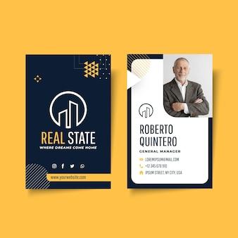 Plantilla de tarjeta de visita vertical de doble cara inmobiliaria