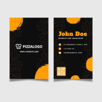 Plantilla de tarjeta de visita vertical de doble cara para restaurante de comida italiana
