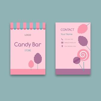 Plantilla de tarjeta de visita vertical de negocios de barra de caramelo rosa
