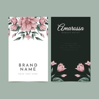 Plantilla de tarjeta de visita vertical de tienda floral