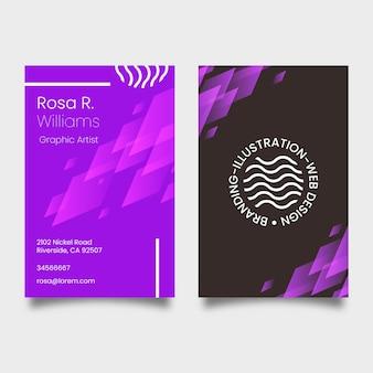 Plantilla de tarjeta de visita violeta neón