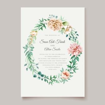 Plantilla de tarjetas de boda de acuarela de flor de peonía hermosa flor