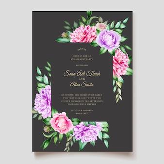 Plantilla de tarjetas de boda de acuarela de flor de peonía rosa flor