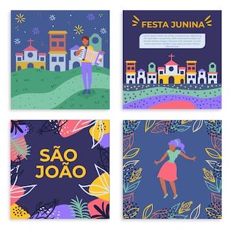 Plantilla de tarjetas de diseño plano festa junina