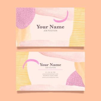 Plantilla de tarjetas de empresa pintadas a mano con formas abstractas