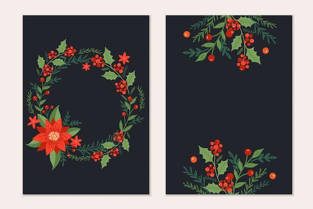 Plantilla de tarjetas de felicitación de navidad con ramas de pino, flores de poinsettia y frutos rojos sobre fondo negro. invitación de vacaciones.