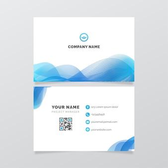 Plantilla de tarjetas de identidad empresarial de ondas lineales