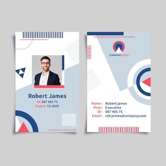Plantilla de tarjetas de identificación abstracta con foto