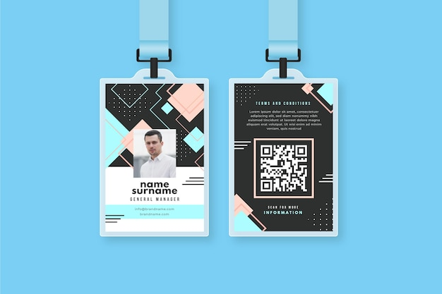 Plantilla de tarjetas de identificación abstracta con imagen