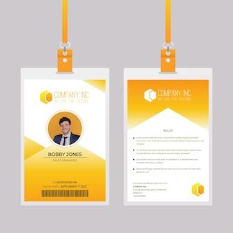 Plantilla de tarjetas de identificación amarillas de diseño abstracto