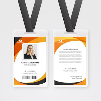 Plantilla de tarjetas de identificación de diseño abstracto con foto