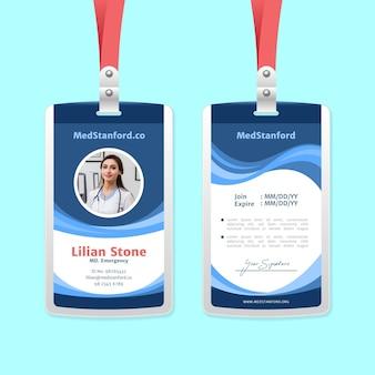 Plantilla de tarjetas de identificación con diseño abstracto fotográfico