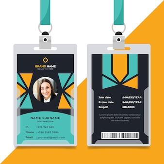 Plantilla de tarjetas de identificación de diseño geométrico