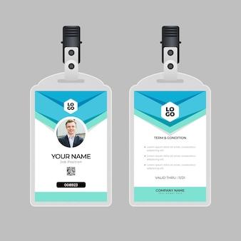 Plantilla de tarjetas de identificación de diseño minimalista con foto