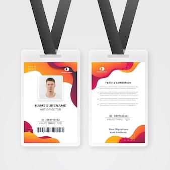 Plantilla de tarjetas de identificación de estilo abstracto con foto