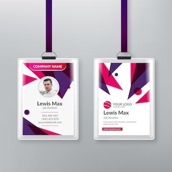 Plantilla de tarjetas de identificación con estilo abstracto fotográfico