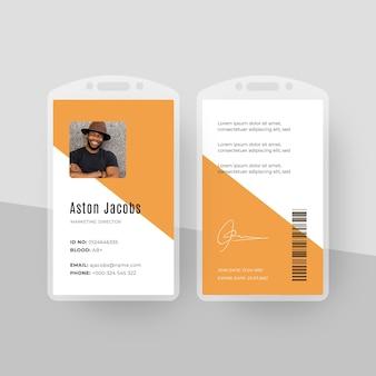 Plantilla de tarjetas de identificación de estilo minimalista con foto