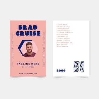 Plantilla de tarjetas de identificación minimalista con foto