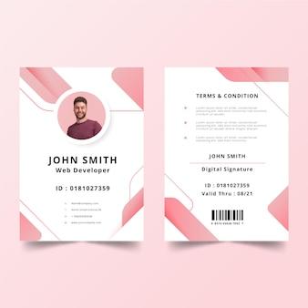 Plantilla de tarjetas de identificación minimalista con imagen