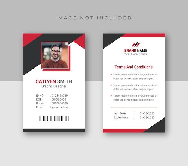 Plantilla de tarjetas de identificación con plantilla de diseño abstracto de foto