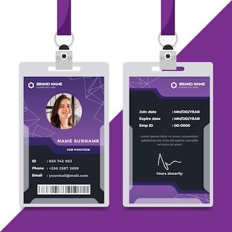 Plantilla de tarjetas de identificación púrpura de diseño abstracto