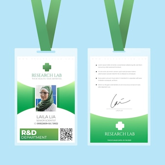 Plantilla de tarjetas de identificación verde de diseño abstracto