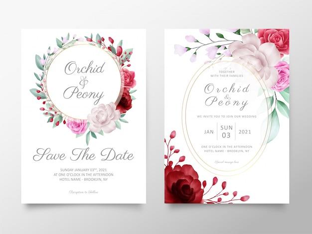 Plantilla de tarjetas de invitación de boda con arreglos de flores de acuarela