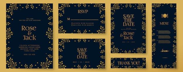 Plantilla de tarjetas de invitación de boda elegante con elementos florales dorados acuarela
