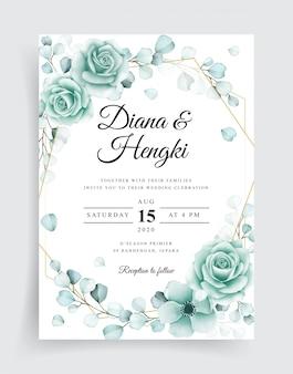 Plantilla de tarjetas de invitación de boda elegante con eucalipto acuarela