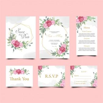 Plantilla de tarjetas de invitación de boda floral con color acuarela