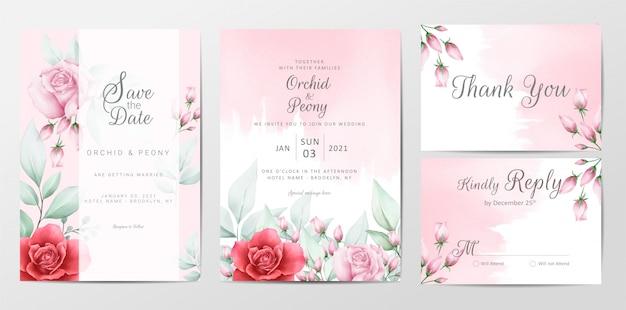 Plantilla de tarjetas de invitación de boda floral con fondo acuarela