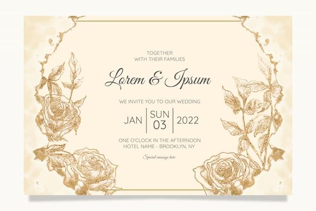 Plantilla de tarjetas de invitación de boda floral con lámina de oro de acuarela
